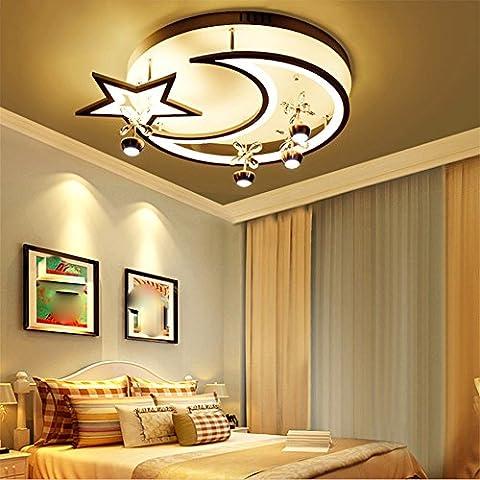 LoveScc Personalisieren Sie Ihre Startseite Das kreative Deckenleuchte jungen Mädchen Zimmer und Beleuchtung, minimalistischen Ledmodern Leuchten Lampen & Leuchten Sterne schwarzer Rand weißes Licht 54 Watt Durchmesser 52 cm