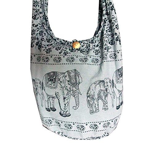 Borsa hippie da donna con motivo etnico elefanti Grey