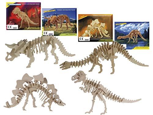Bada Bing 4er Set Naturholz 3D Puzzle Dino Holz Puzzle Dinosaurier Skelett Zum Basteln Und Konstruieren 45