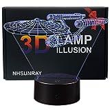 3D Lampes Illusions Optiques NHsunray 7 Couleurs Changement Tactile Interrupteur Lumière De Nuit Art Déco Faites Une dans La Chambre Chambre d'enfants Salon Bar Café Restaurant (Star Trek)