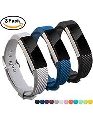 Pour Fitbit Alta Bracelet, Fitbit Alta HR Bracelet, Digitek Silicone Bande Chaîne Montre Sport Remplacment Réglable Watch Band Accessoire 3PCS (No Tracker)