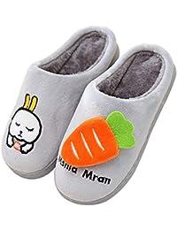 c200674750b6d QZBAOSHU Chaussures Enfants Garçon Fille Chaussons Hiver Peluche Pantoufles  Lapin Dessin Animé Mignon