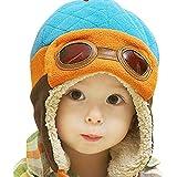 Mütze Baby Unisex Jungen Mädchen Wintermütze warme Kappen Hüte Beanie-Mütze Pilot häkeln Earflap Hüte Kinder Cap Schalmütze Kindermütze