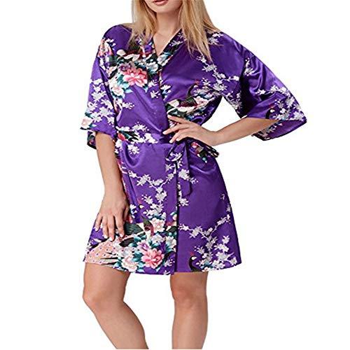 Donna pigiama kimono, scollo a v in pizzo raso vestaglia da donna per sposa al nubilato/matrimoni/feste,accappatoio pigiama di seta con maniche a pavone viola xxl