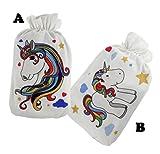 Kleine Wärmflasche 500ml - mit Fleecebezug EINHORN mit Regenbogenmähne - Auswahl #72 (Einhorn A)