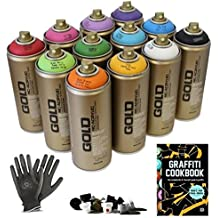 Montana Gold Graffiti Starter Pack - 12 Spray Paint Cans, Tutorial Book, Protective Gloves + Try-out Cap Set - Perfect For Beginners!