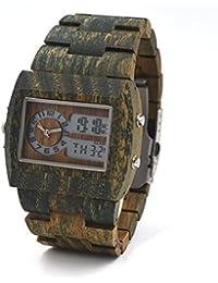 uwood Madera de Sándalo Verde Reloj Limited eddition multifuncional LED Madera Reloj para hombre