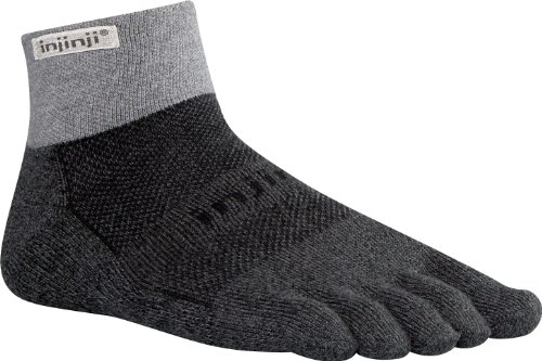 Injinji Trail Mid Weight Mini Crew Socken-Granite-M (Mini-zehen-socken Crew)