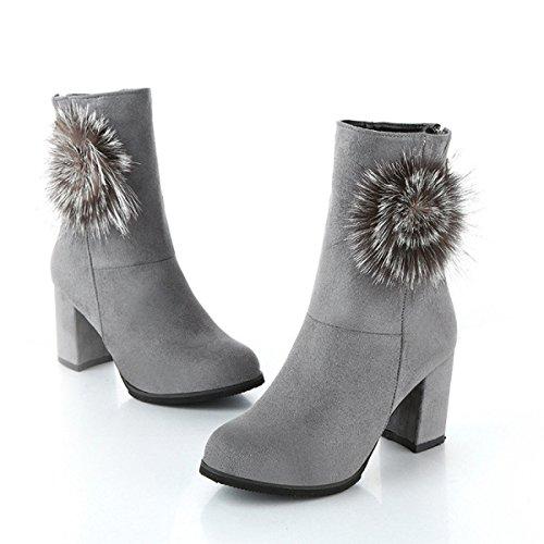 Autunno E Inverno Il Nuovo In Stivali Donne Ruvide Con Tacco Alto Martin Stivali Moda Caldo Stivali Gray1