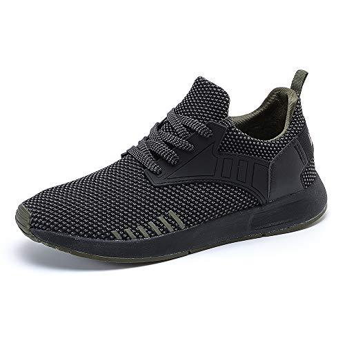 YIRUIYA Uomo Sneakers Estive Leggere Scarpe Comode Sportive Scarpa da Camminata Lavoro Nero+Verde 46 EU