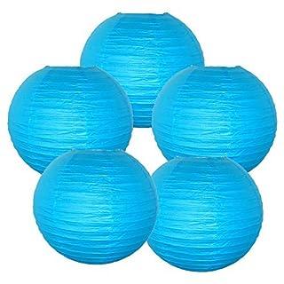 Just Artifacts Paper Lanterns (Set Of 5) 8inch Aquamarine Blue