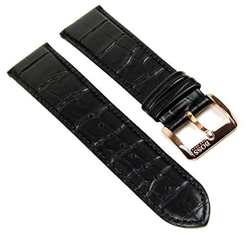 Hugo Boss Uhrenarmband Leder 22mm schwarz für HB 1512635