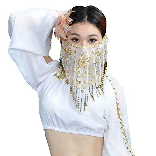 am-Bauchtanz-Gesichtsschleier mit Perlen verziert (Weiß) (Team America Halloween-kostüme)