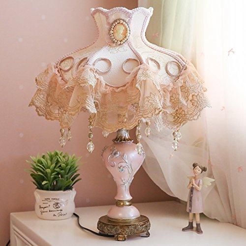 LGK&FABettseit- und Tischlampen Mädchen, Prinzessin, pink, warm, pastoralen Stil, Familie Stil, europäischen Stil Tischlampe, Schlafzimmer Nachttischlampe 38 * 50 cm, Schalter Chinesische Harfe