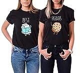 Mejores Amigas Camiseta 2 Best Friend T-Shirt Dibujos Animados 100% Algodón 2 Piezas Manga Corta Par Impresión Best Friends Camisa Hermana para Mujer Verano(Negro+Negro,Leche-S+Galleta-S)