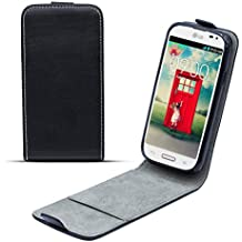 Moozy premium magnética Flexi delgada funda Flip LG F70 D315 Cover vertical en el soporte de silicona, Negro Frc
