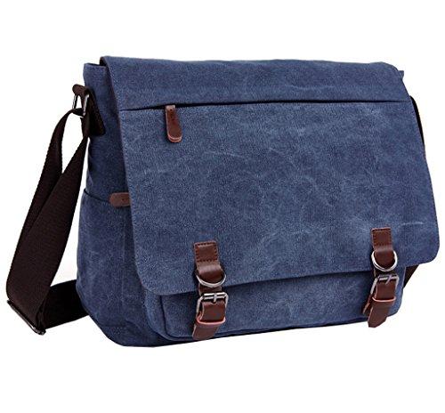 Super Modern Vintage-Canvas-Schultertasche, leger, College-Bag, Laptop-Tasche (für 14 Zoll / 35,6cm), Schultasche aus Segeltuch/Canvas, Aktentasche, Umhängetasche Blau