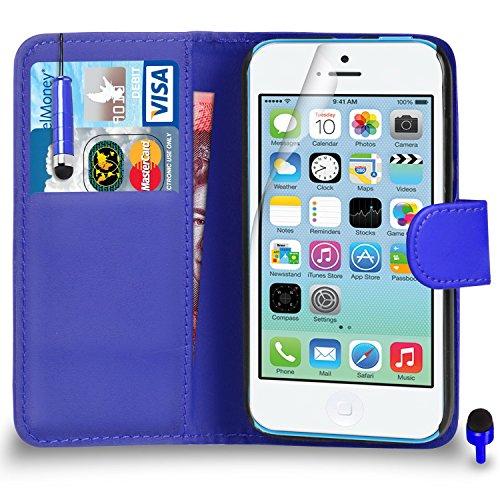 Apple iPhone 5C Premium Leather Rouge Wallet Retournez Protecteur Ecran Housse Pouch + Mini Stylus Pen + & Chiffon PAR SHUKAN®, (Rouge) Bleu