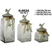 DonRegaloWeb - Set de 3 botes de cristal con tapa de cerámica y base cuadrada en color transparente y blanco