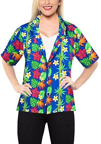 LA LEELA Hawaii-Hemd-Bluse Knopf unten Kragenkleid Frauen mit kurzen Ärmeln Lager blau XXL -