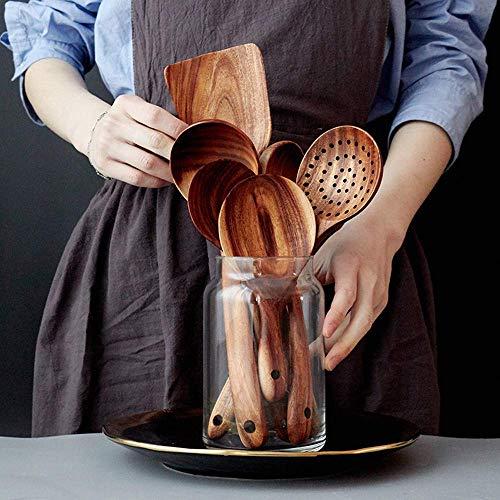 Loned Küchenhelfer Set, 7 Stück Holz Küchenutensilien Sets, Hitzebeständig und Antihaft, Japanischer Stil - 7