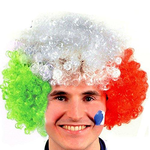 Vococal® Fußball Fans Kurz Volle Lockigen Perücken - Halloween Partei Deko Clown Einrollen Haare Perücken, Italien Flagge (Lockigen Kurzen Perücken)