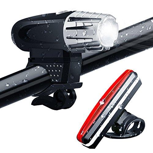LED Fahrradlicht Set, VOCC 300 Lumen Superhelle Wasserdichte USB Wiederaufladbare Fahrradlampe Vorderlicht und rotes Rücklicht Fahrradbeleuchtung Set für Fahrräder