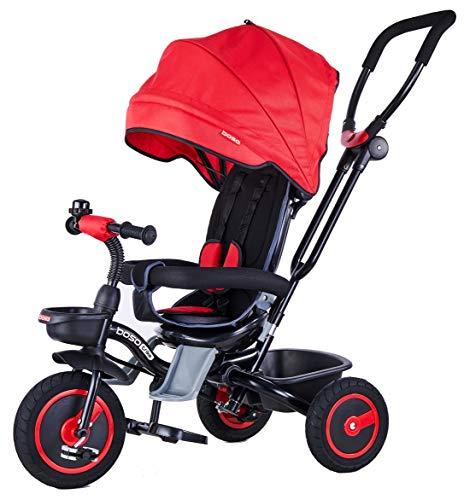 Mondial Toys Triciclo Passeggino Pieghevole 4 in 1 con SEGGIOLINO Reversibile MANIGLIONE DIREZIONABILE Ruote in Gomma CAPPOTTINA Parasole Rosso