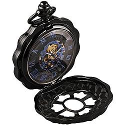 Alienwork Retro Handaufzug mechanische Taschenuhr Skelett Uhr graviert blau schwarz Metall W891H-02