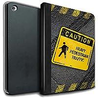 STUFF4 PU Pelle Custodia/Cover/Caso Libro per Apple iPad Air 2 tablet / Pesante Pedonale / Cartelli Stradali Divertenti disegno