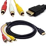 1.5 m HDMI maschio a 3 RCA audio video AV cavo adattatore prolunga codice per TV HDTV DVD 1080P m/m Connettore convertitore Goldplated - CentBest - amazon.it