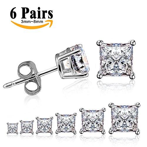 LIEBLICH Orecchini a uomini e donne zirconia cubico a forma di diamante Acciaio Inossidabile Stallone Orecchini Cubica Zircone 6 Paia 3mm-8mm
