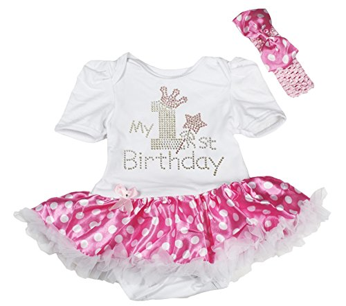 Petitebelle My 1st Birthday Baby Dress White Bodysuit Pink Dots Skirt NB-18m (6-12 Monat)