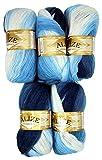 5 x 100 g Alize Strickwolle Farbverlauf dunkelblau blau weiß Nr. 1899 zum Stricken und Häkeln, 500 Gramm Wolle mit Mohair
