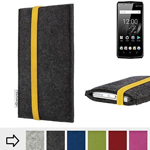 flat.design Handy Hülle Coimbra für Oukitel K10 passgenau Handytasche Filz Tasche fair schwarz gelb
