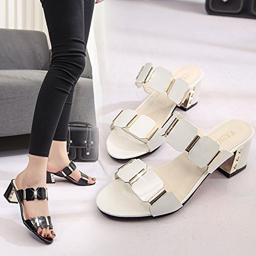 ZYUSHIZ Frau High-Heel Sandalette fetter Text mit kühlen Hausschuhe Metall der Europäischen Sandalen Hausschuhe 38EU