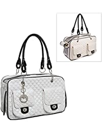MG Collection blanco acolchado funda inspirado piel sintética perro & gato Pet Carrier Tote bolso