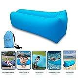 Tumbona inflable con bolsa de transporte; tumbona de playa; sofá inflable; cama flotante para piscina; para uso en interiores o al exterior; senderismo; acampada, playa, parque, patio trasero; impermeable; duradera, azul