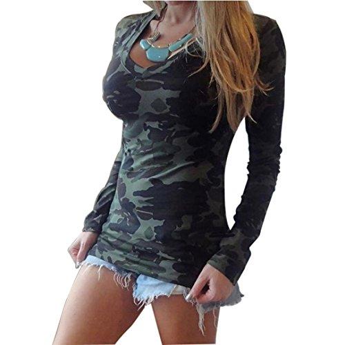 Blusas Y Camisas De Mujer 2016, Oyedens Moda de manga larga con cuello en V estampado camuflaje camiseta delgada ocasional (M)