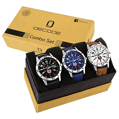 Decode Combo of 3 Stylish Multicolor Dial Men's and Boys Watches
