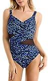 Macool Ladies Retro One-Piece Swimsuits Women Tummy Control Swimming Costume Ruched Swimwear