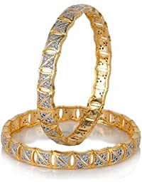 Zeneme Precious American Diamond Gold Plated Bangle Jewellery For Women / Girls Set Of 2