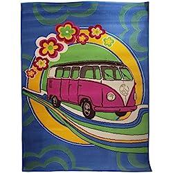 Alfombra con diseño de furgoneta hippie retro (120x160cm/Multicolor)