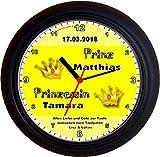 Lucky Clocks Zwillinge Prinzessin Prinz PÄRCHEN GELB Taufe Geburt Wanduhren für jeden Anlass mit jeder Beschriftung und jedem Vornamen Namen erhältlich