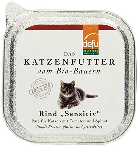 defu Bio Nassfutter Rind für Katzen Gluten und Getreidfrei 100 g, 16er Pack (16 x 100 g) -