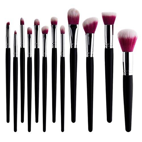 Baoblaze 12x Set Pinceaux Maquillage Professionnel, Brosse à Sourcils, Brosse à Lèvres, Pinceaux Fond de Teint, Brush make-up - B