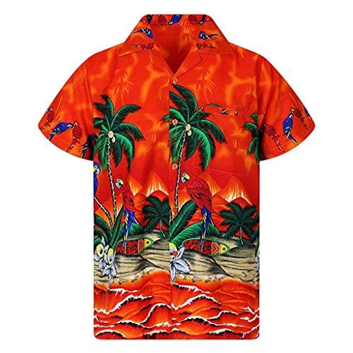 Fenverk Funky Hawaiihemd Herren Kurzarm Fronttasche Hawaii-Print Verschiedene Designs Hawaii Hemd Strand Knopf Hemden 3D Drucken LäSsig Button Down Strandurlaub(Orange,XXXL) - Herren Disney Vintage Micky Maus