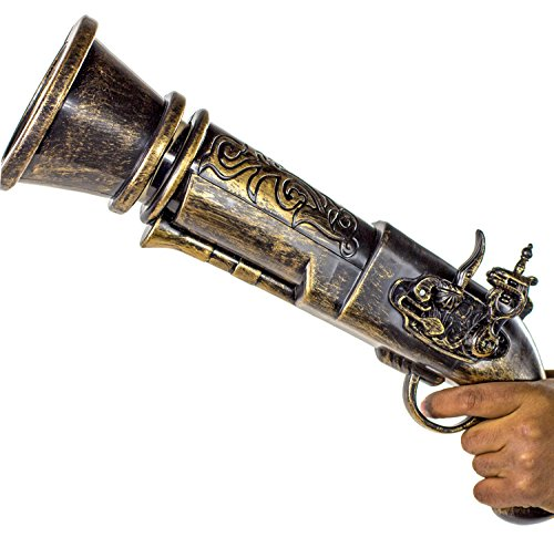 Pirate Kostüm Gold - XXL 46cm Spielzeug-Pistole Piraten-Kostüm Spiel Waffe Set Munition Kugeln Soft-Air
