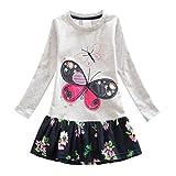 LPATTERN Langarm Kleider Kinder Mädchen Herst Frühling Kleid Süße T-shirt Kleid Schmetterling Muster Strickrei Kleid ,Grau ,128