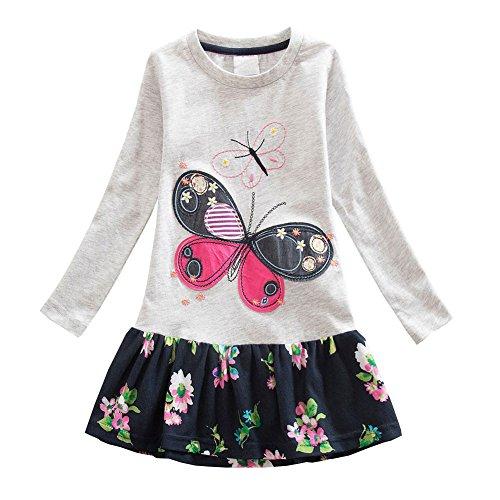 ider Kinder Mädchen Herst Frühling Kleid Süße T-shirt Kleid Schmetterling Muster Strickrei Kleid ,Grau ,116 (Kinder Süßes Kleid)